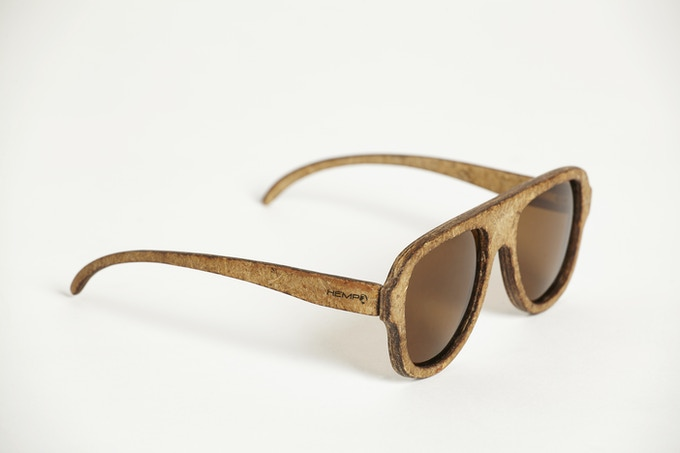 THE WORLD'S FIRST HEMP PLANE SPECIAL EDITION HEMPEARTH SUNGLASSES by Hemp Eyewear (Aviator Style) Made In The UK Side View