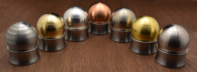 From left to right: Stainless Steel, Bronze, Aluminum, Copper, Titanium, Brass, and Nickel