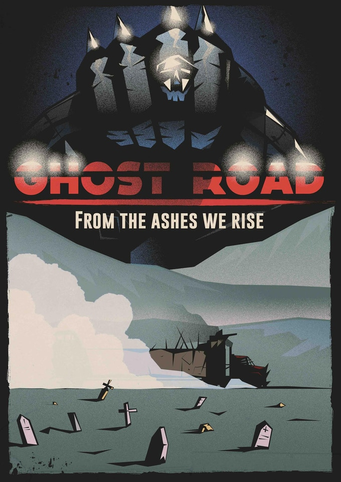GHOST ROAD is our example adventure that's running during the Kickstarter. It features a nightmare world of bound ghosts and ash wastelands, where shamanic tribes dig through the ruins of a shattered civilisation