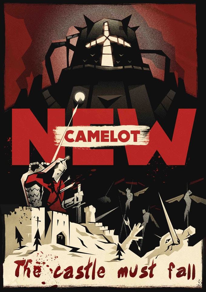 "In NEW CAMELOT, arcology agents (""Knights"") strap on semimagical powered exo-skeletons (""armour"") and carve themselves a niche in a broken world. (Created by Anthony Stiller and his playtest group)"