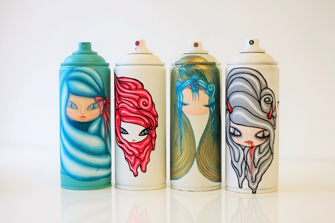 Painted Spray Cans
