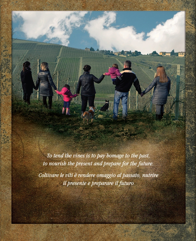"""Back cover of """"Labor of Love."""" The Grasso family of Cà del Baio in Barbaresco looking to the next vintage."""