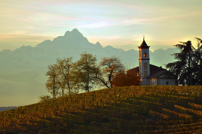 Monte Viso on the western border of Piemonte with France can easily be seen from the vine-covered hills of the Langhe 50 miles away. Photo credit - Pierangelo Vacchetto
