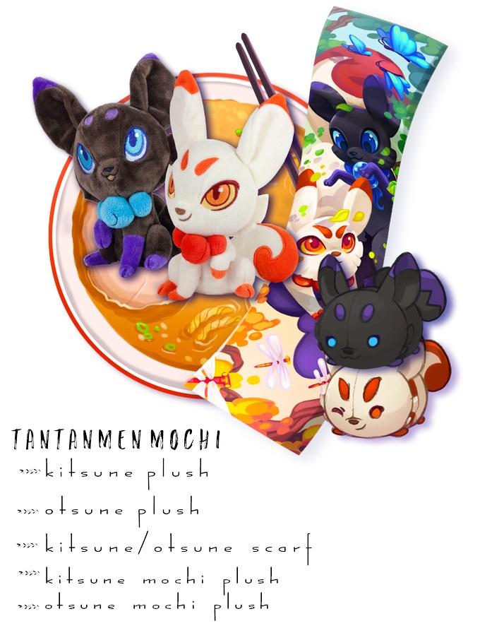 Includes: One Kitsune Plush, One Otsune Plush, One Kitsune Mochi Plush, One Otsune Mochi Plush, One Scarf