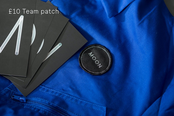 MOON team patch ø60mm + set of 4 A5 postcards, designed by Stina Gromark