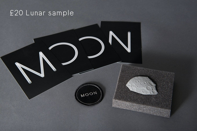 A piece of the Moon (approx. ø 50mm), 1 MOON team patch ø 60mm, set of 4 A5 postcards, designed by Stina Gromark