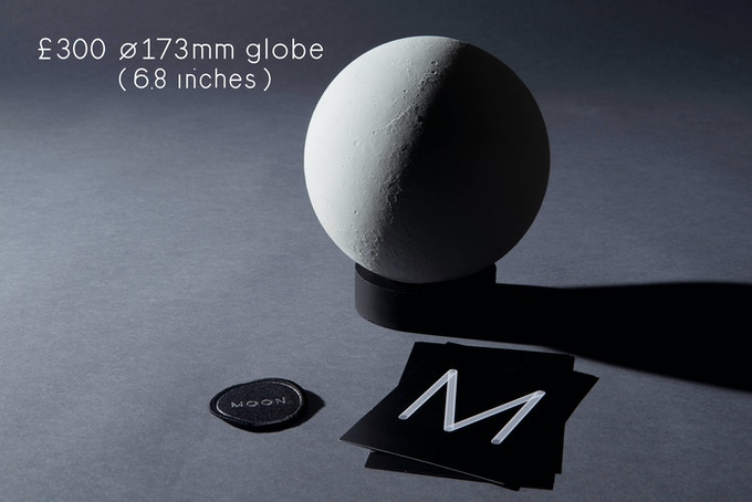 1/20 million scaled lunar globe (ø 173mm, ø 6.8 inches). Rotocasted polyurethane resin, individually numbered. Comes with a jesmonite base, a certificate, a team patch and a set of 4 A5 postcards