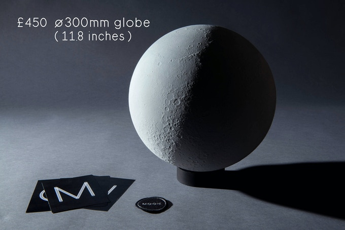 1/11.5 million scaled lunar globe (ø 300mm, ø 11.8 inches). Rotocasted polyurethane resin, individually numbered. Comes with a jesmonite base, a certificate, a team patch and a set of 4 A5 postcards