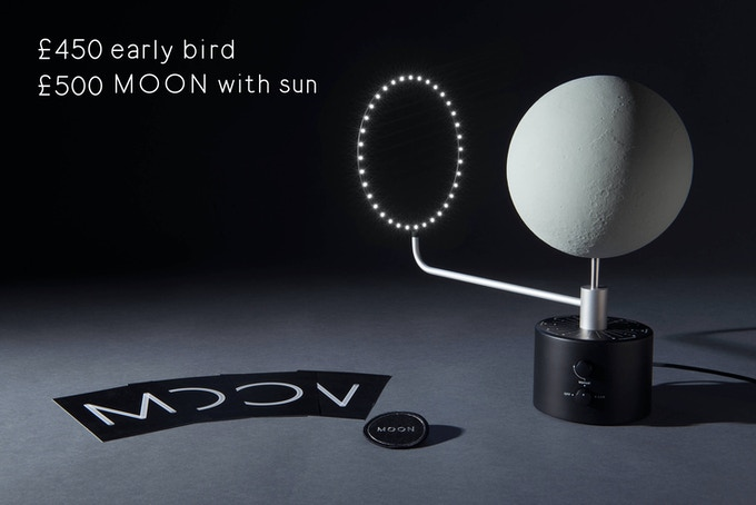 MOON with SUN, 1/20 million scaled lunar globe (ø 173mm, ø 6.8 inches) with LED light. Rotocasted polyurethane resin, powder coated steel, CNC machined aluminium. Individually numbered. Comes with a certificate, a team patch and a set of 4 A5 postcards