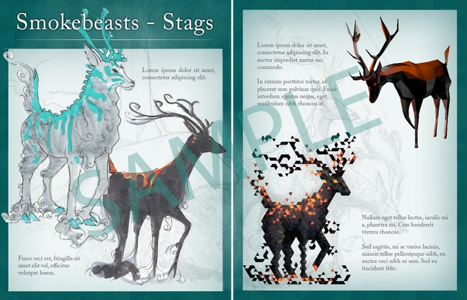 A sample artbook page about smokebeasts.