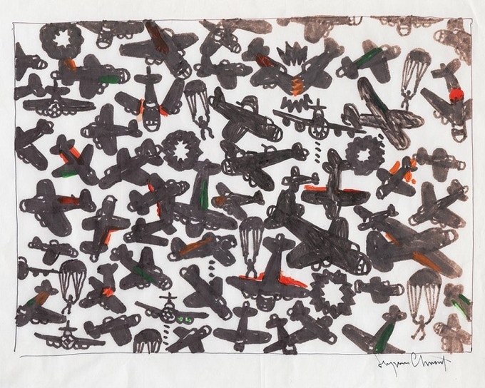 """For $300: """"Red and Black Planes,"""" 2011, markers on paper, 10 x 14 in, signed, plus a signed copy of """"At War with War."""""""