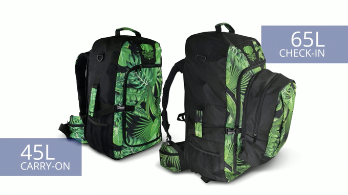 There are two sizes to choose from - the 45 Litre pack which can be carried on and the 65 Litre pack which comes with a zip-on daypack