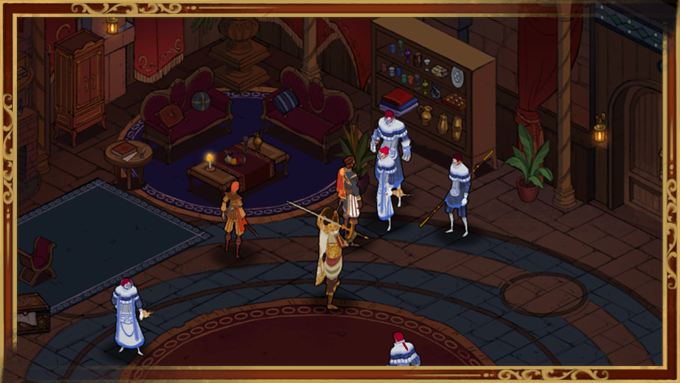 Cicero's party confronts members of the Sorelle, the blue Guild. Trust fall, anyone?
