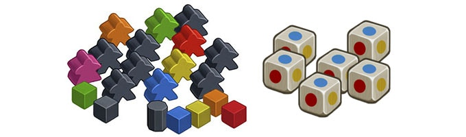 Wooden pieces and dice