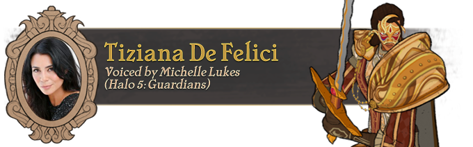 Stale platitudes and tired excuses dominate her speech, as if to weakly belie the thinly-veiled nature of her attachment to Cicero Gavar. Tiziana is a spy for her guild, and she will uphold her faith to the guild's notion of justice, no matter the cost.