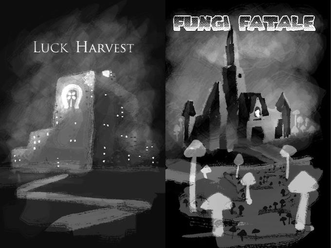 Luck Harvest setting by Brian Van Slyke, Fungi Fatale by Hannah Shaffer.