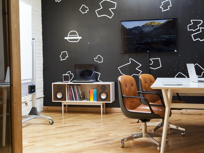 Maple & Walnut version in office setting