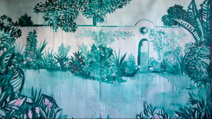 8 ft X 10 ft tapestry by artist Kat Merkel