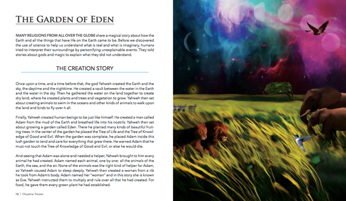 An illustrated children's book for ages 5-15. Learn about Christian bible stories and myths without the dogma.
