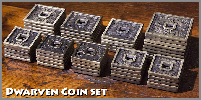 Dwarven Tower coin set: 25 x Small, 15 x Medium, 10 x Large