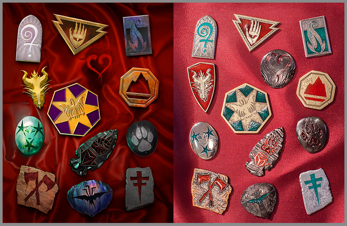 Lee Moyer's icon symbol art (left), Drew Morrow's tokens (right). Prototypes shown. Click for larger image.