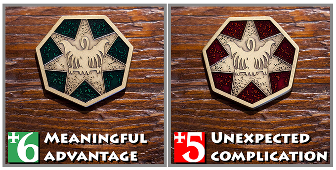 The Emperor icon token: Green side, Red side.