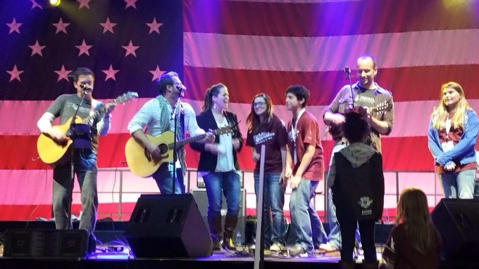 Tom Abbott, Steve Wilson, Rachel Hill, and Rob Raymond, performing for Snowball Express, an organization that takes care of children of our military fallen