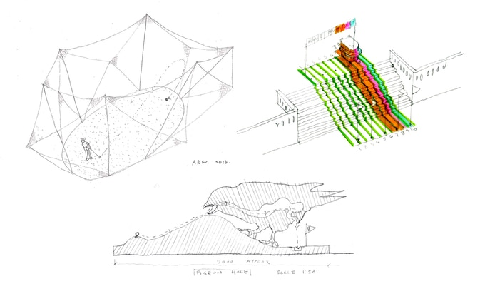 Initial sketches from Atelier Bow Wow, Paul Smith and Ordinary Architecture