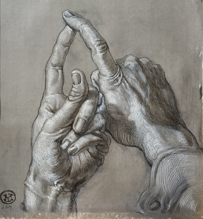 Two Fingers Touching 2014 (6x7in) *click for hi-res*