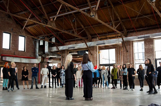Directors Sarah Kinlaw and Monica Mirabile at Knockdown Center for our first group rehearsal. photo by Walter Wlodarczyk