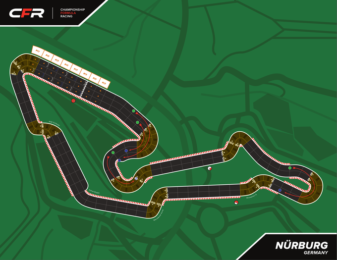 Nürburg, Germany - One of many faithfully reproduced F1 racetracks! (Please Note: Artwork Not Final.)