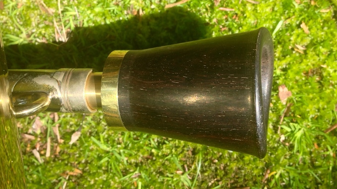 Grenadilla on a tuba. The brass will be silver plated.