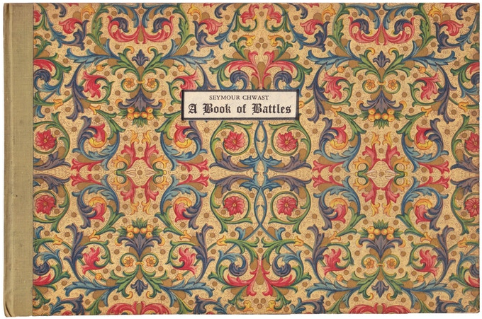 """For $2,750: Original copy (only 80 printed) of """"A Book of Battles"""" (1957), Seymour's self-published early antiwar statement, featuring hand-colored linocuts of 9 famous battle scenes. Includes """"At War with War,"""" signed and inscribed."""