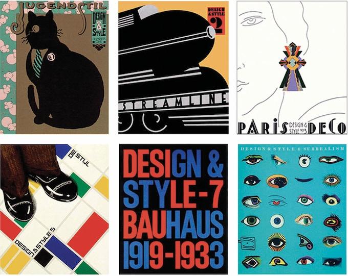 """For $129 each: """"Design & Style"""" - No. 1, """"Jugendstil"""" (1986); No. 2, """"Streamline"""" (1987); No. 3, """"Paris Deco"""" (1988); No. 5, """"De Stijl"""" (1989): No. 6, """"Surrealism"""" (1990); No. 7, """"Bauhaus"""" (1991)."""