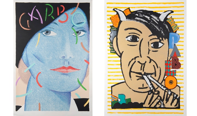 """For $459 (LEFT): """"Garbo,"""" original 1989 signed limited-edition screenprint, 30 x 44 in., plus a signed copy of """"At War with War."""" For $675 (RIGHT): """"Picasso"""" signed limited-edition screenprint, 30 x 44 in., plus a signed copy of """"At War with War."""""""