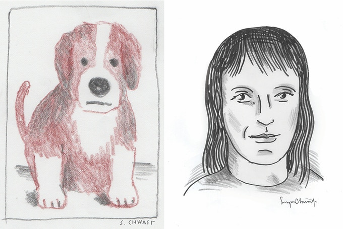 """For $500 (in black-and-white); for $750 (in color): Seymour will draw your pet's portrait (sample above). For $500: Seymour will draw your portrait in black and white (sample above). Includes """"At War with War."""""""