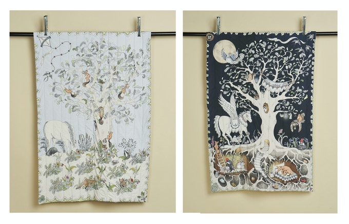 Enchanted Forest Quilted Blanket - shown on both sides