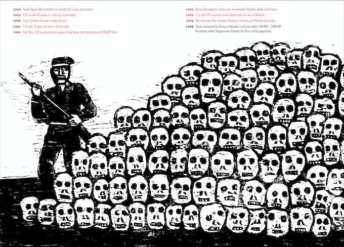 "From ""At War with War"" by Seymour Chwast. Rwanda Civil War, 1994."