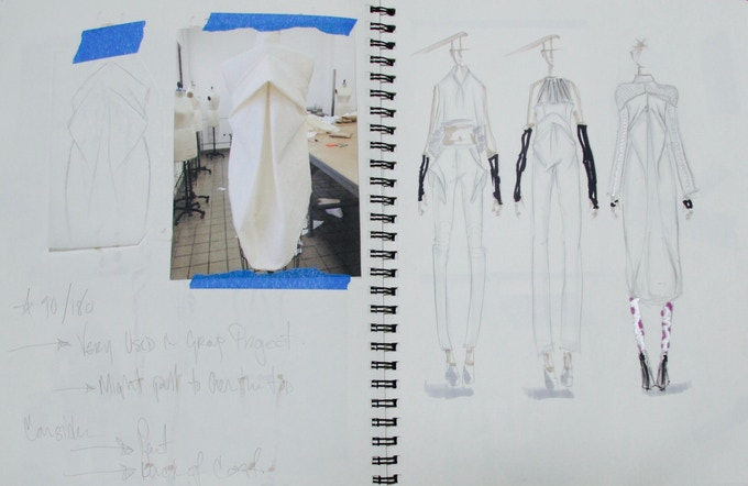 Continued draping and development.
