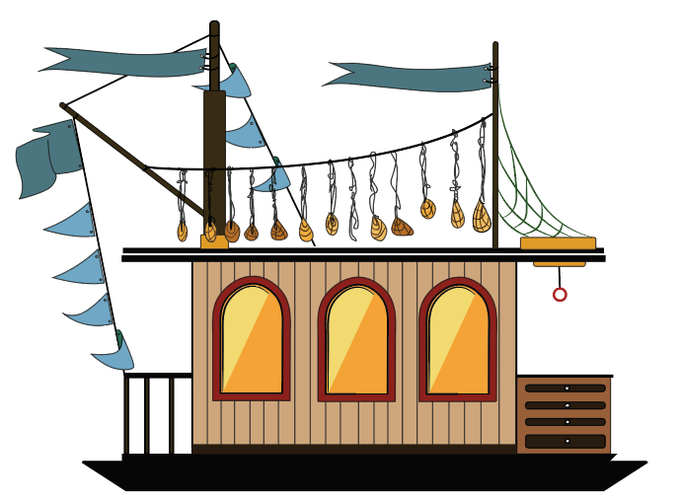 One possible iteration of the boat as it travels south