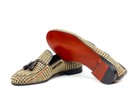 Red Bottom Tweed/Tassel Loafers