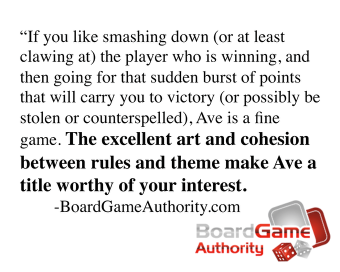 Click to read The Board Game Authority's review of the Ave prototype!