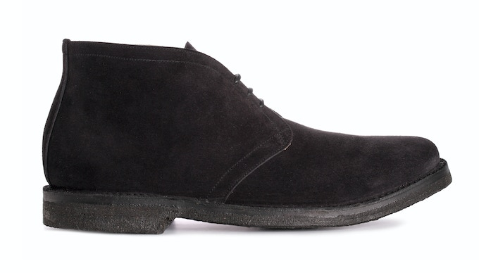 WICKHAM in jet black suede; pictured with black crepe sole