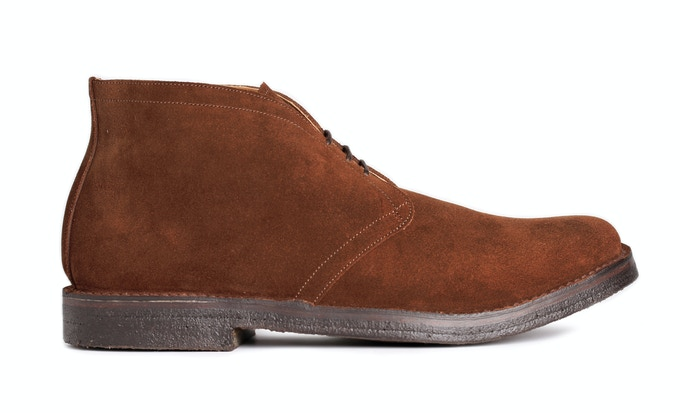 FRISTON in brown snuff suede; pictured with brown crepe sole