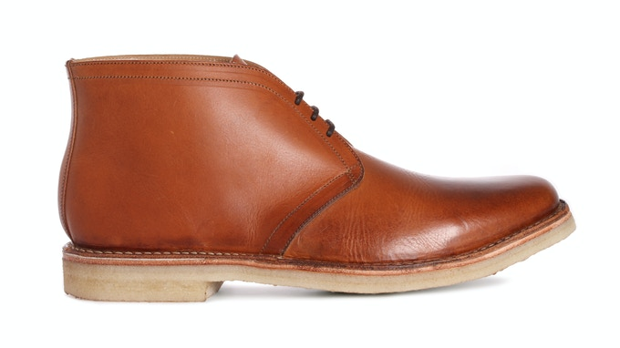 RENDLESHAM in cognac Italian veg. tanned leather; pictured with natural crepe sole