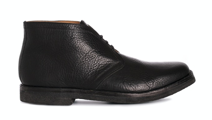 SNAPE in pitch black Italian veg. tanned grain leather; pictured with a black crepe sole