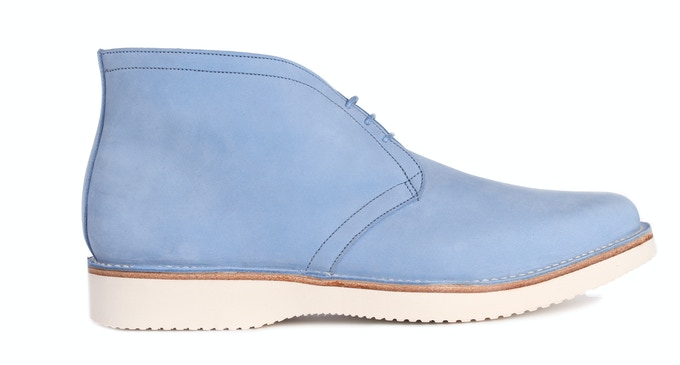 WOODBRIDGE in sky blue Nubuck; pictured with a lightweight rubber sole