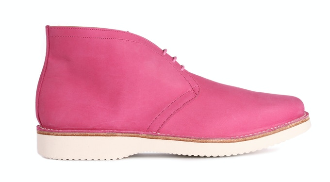 SAXMUNDHAM in hot pink nubuck; pictured with a lightweight rubber sole
