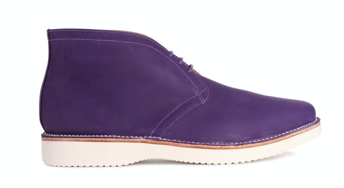 ALDEBURGH in purple Nubuck; pictured with a lightweight rubber sole