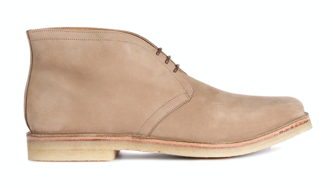 EYKE in sandstone Nubuck; pictured with a natural crepe sole